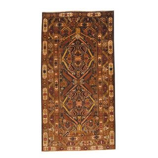 Herat Oriental Afghan Hand-knotted Semi-antique Tribal Balouchi Navy/ Ivory Wool Rug (3'7 x 6'1)