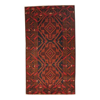 Handmade Semi-Antique Tribal Balouchi Wool Rug (Afghanistan) - 3'7 x 6'6