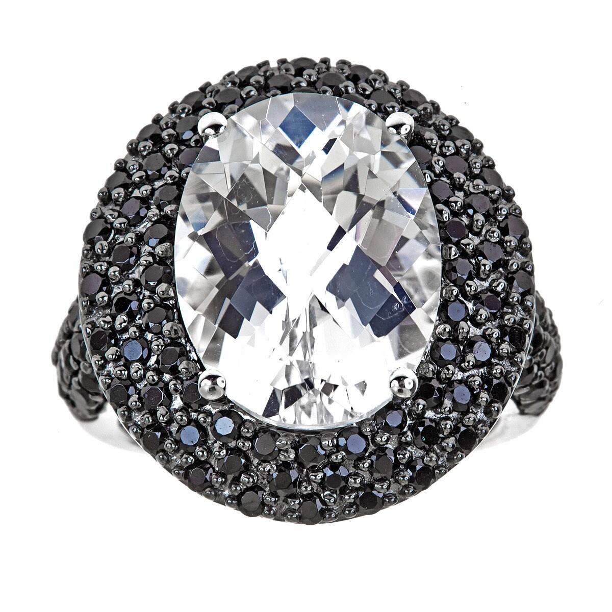 Sterling Silver White Topaz Black Onyx Ring (6), Women's