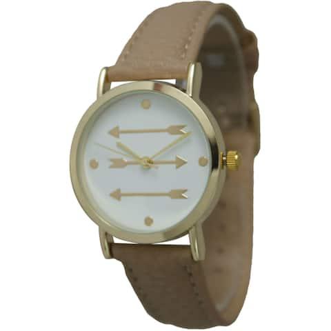Olivia Pratt Women's Pointing Arrows Leather Strap Watch