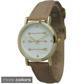 Olivia Pratt Women's Pointing Arrows Leather Strap Watch