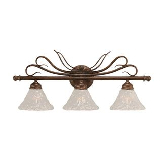 Cambridge 3-Light Bronze 26.75 in. Bath Vanity with Italian Bubble Glass