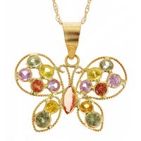 14k Yellow Gold Multi-colored Sapphire Necklace