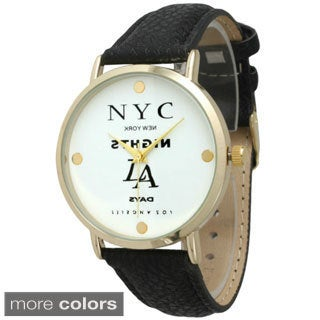 Olivia Pratt Women's 'In the City' Leather Strap Watch