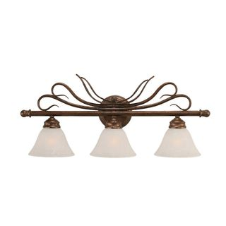 Cambridge 3-Light Bronze 26.75 in. Bath Vanity with White Marble Glass