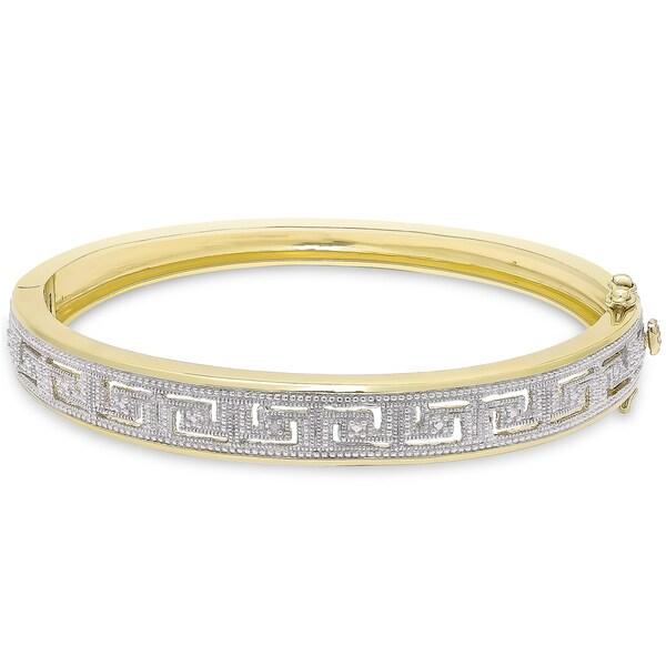 Finesque Gold Overlay Diamond Accent Greek Key Bangle (I-J, I2-I3)