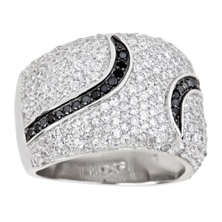 Decadence Sterling Silver Micropave Black and White Fancy Cocktail Ring Cubic Zirconia