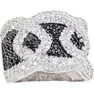 Decadence Sterling Silver Mircopave Black and White Fancy Design with Cubic Zirconia