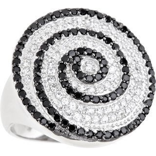 Decadence Sterling Silver Micropave Black and White Swirl Cocktail Ring with Cubic Zirconia