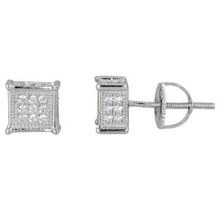 Decadence Sterling Silver Square Micropave Stud Earrings with Cubic Zirconia