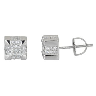 Decadence Sterling Silver Square Micropave Screwback Stud Earrings with Cubic Zirconia