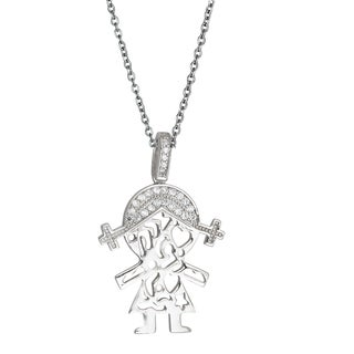 Decadence Sterling Silver Micropave Little Girl Cutout Pendant with Cubic Zirconia