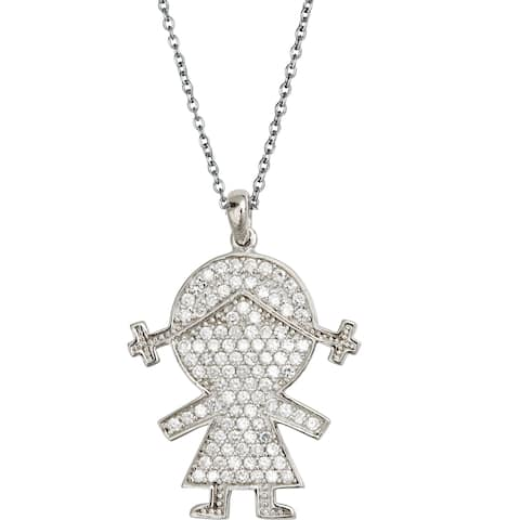 Decadence Sterling Silver Micropave Little Girl Pendant with Cubic Zirconia