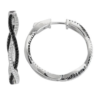 Decadence Sterling Sivler Micropave Black and White Twist Hoop Earrings with Cubic Zirconia