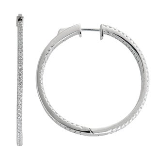 Decadence Sterling Sivler Micropave Single Strand Hoop Earrings with Cubic Zirconia