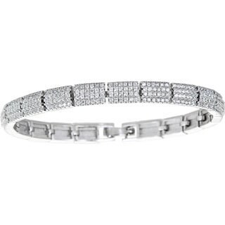 Decadence Sterling Silver Micropave 5 Row Round Cut Fancy Ladies Bangle with Cubic Zirconia