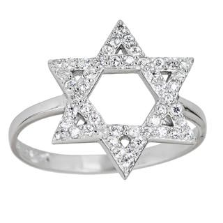 Decadence Sterling Silver Micropave Star of David Ring with Cubic Zirconia|https://ak1.ostkcdn.com/images/products/10019348/P17166116.jpg?impolicy=medium