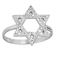 Decadence Sterling Silver Micropave Star of David Ring with Cubic Zirconia