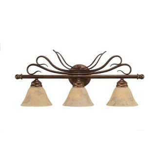 Cambridge 3-Light Bronze 26.75 in. Bath Vanity with Italian Marble Glass