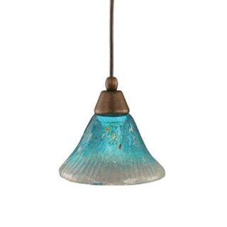 Cambridge 1-Light Bronze 7.75 in. Pendant with Teal Crystal Glass