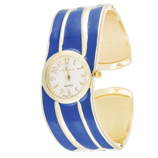 Xtreme Via Nova Women's Stainless Steel Blue Strip Bangle Watch