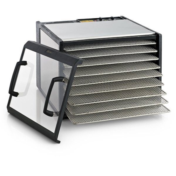 Excalibur D900CDSHD Stainless Steel Dehydrator 9-Tray Clear Door with Stainless Steel Trays