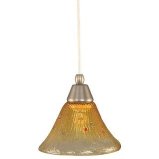 Cambridge 1-Light Brushed Nickel 7.5 in. Pendant with Gold Champagne Crystal Glass