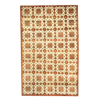 Herat Oriental Indo Hand-knotted Tribal Tibetan Ivory/ Rust Wool Rug (5' x 8')