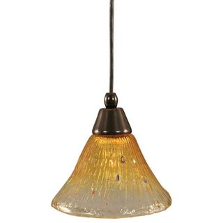 Cambridge 1-Light Black Copper 7.5 in. Pendant with Gold Champagne Crystal Glass