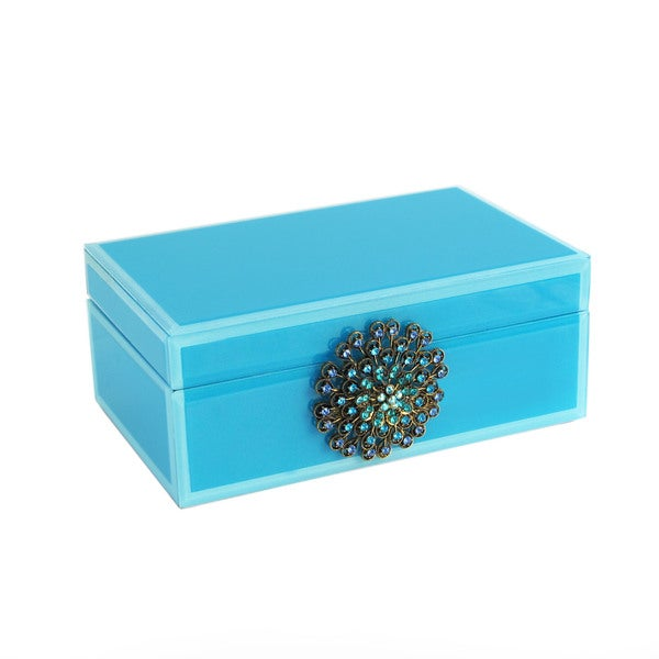 Large Teal Brooch Jewelry Box