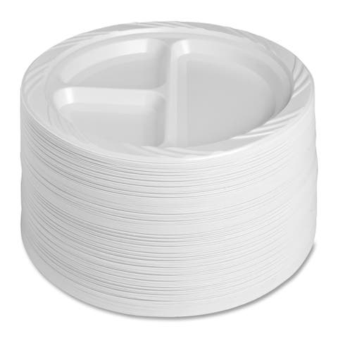 Genuine Joe Reusable/ Disposable 9-inch Divided Plate (Pack of 125)