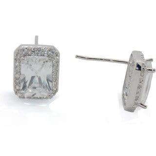 Sterling Silver Emerald-cut Cubic Zirconia Stud Earrings