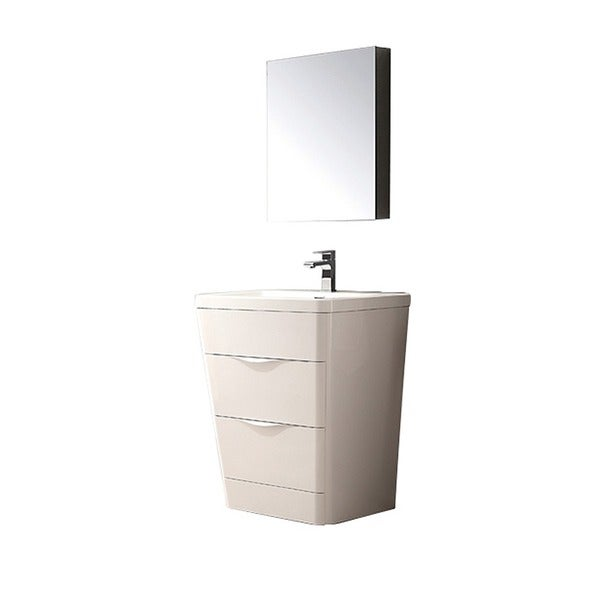 Fresca Milano 26 Inch Glossy White Modern Bathroom Vanity With Medicine  Cabinet