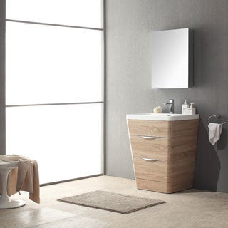fresca milano 26inch white oak modern bathroom vanity with medicine cabinet