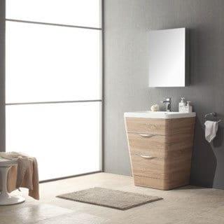 Fresca Milano 26 Inch White Oak Modern Bathroom Vanity With Medicine Cabinet
