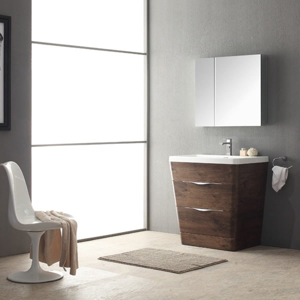 Fresca Milano 32 inch Rosewood Modern Bathroom Vanity with Medicine Cabinet    Free Shipping Today   Overstock com   17166649Fresca Milano 32 inch Rosewood Modern Bathroom Vanity with  . 32 Inch Bathroom Vanity. Home Design Ideas