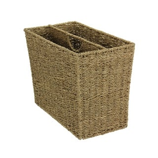Household Essentials Two-compartment Seagrass Wicker Magazine Rack