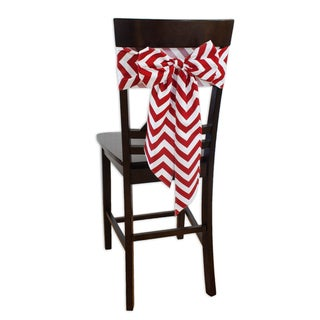 Zig Zag Lipstick Chair Tie with Tapered Ends and Serged Edge (set of 2)