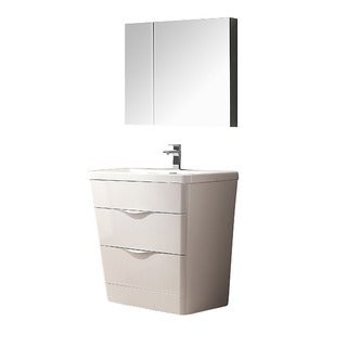 Fresca Milano 32-inch Glossy White Modern Bathroom Vanity with Medicine Cabinet