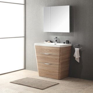 Shop fresca milano 32 inch white oak modern bathroom - Bathroom vanities 32 inches wide ...
