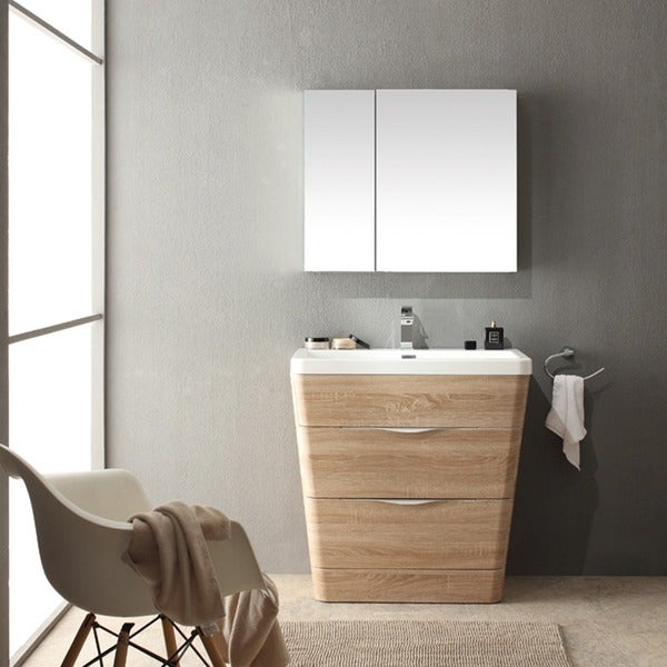 Fresca Milano 32 inch White Oak Modern Bathroom Vanity with Medicine Cabinet    Free Shipping Today   Overstock com   17166650Fresca Milano 32 inch White Oak Modern Bathroom Vanity with  . 32 Inch Bathroom Vanity. Home Design Ideas