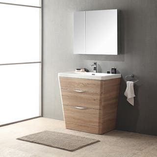 Fresca Milano 32-inch White Oak Modern Bathroom Vanity with Medicine Cabinet
