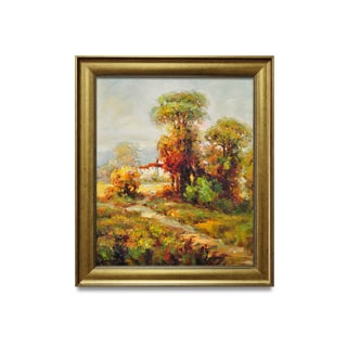 Framed oil painting on canvas of mordern landscape of autumn