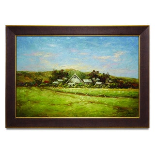 Framed Oil Painting on Canvas of Landscape with farm house