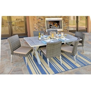 the-Hom Lindmere 7-piece Antique Grey Hard Wood/ Grey All-weather Wicker Patio Dinning Set with Beige Cushions