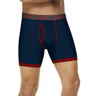 Hanes Men's Ultimate Stretch Grey/Indigo/Red Boxer Brief with Comfort Flex Waistband (Pack of 3)