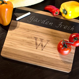Personalized Bamboo and Slate Cheese Board