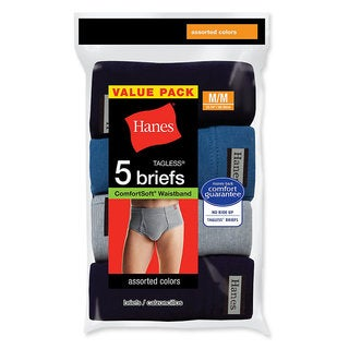 Hanes Men's Tagless No Ride Up Briefs with ComfortSoft Waistband 2XL (Pack of 5)