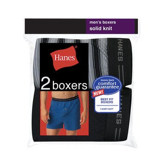 Hanes Men's Exposed Waistband Knit Boxer (Pack of 2)