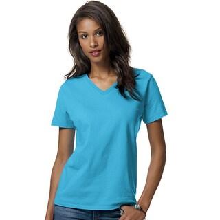 Hanes womens 5.2 oz. ComfortSoft® V-Neck Cotton T-Shirt (5780)